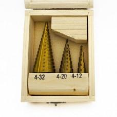 Набор ступенчатых свёрл TCCN по металлу 4-12, 4-20, 4-32мм (3шт.)